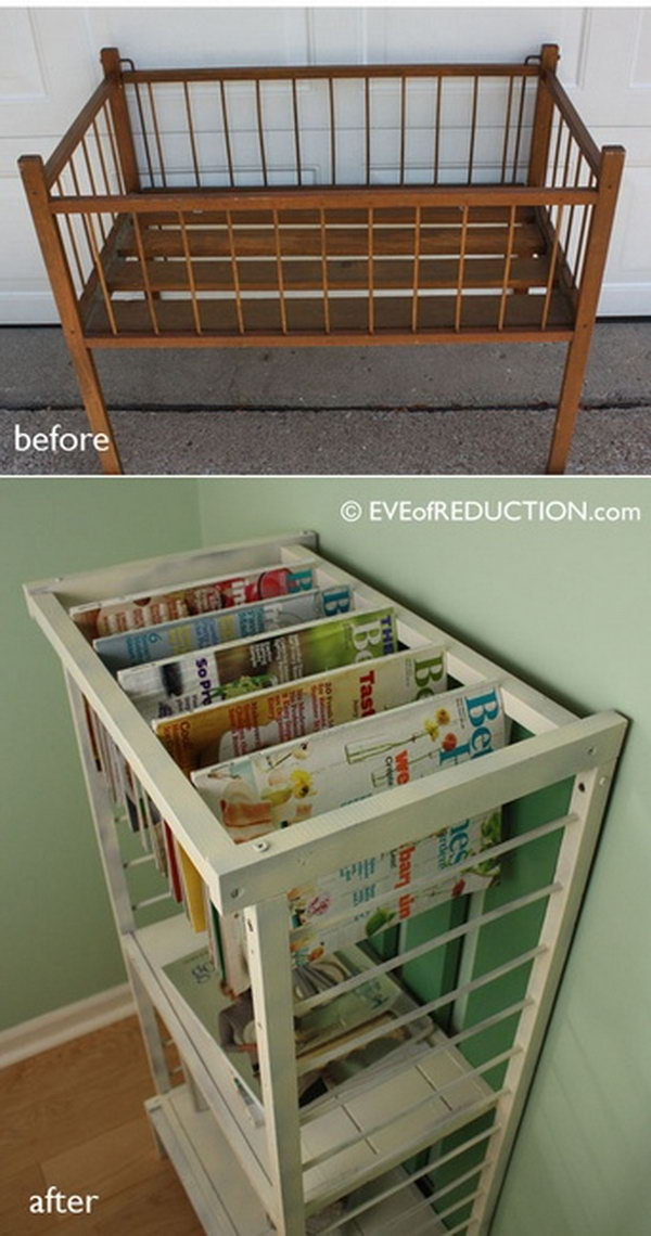 Turn a Small Crib into Stylish Magazine Rack.