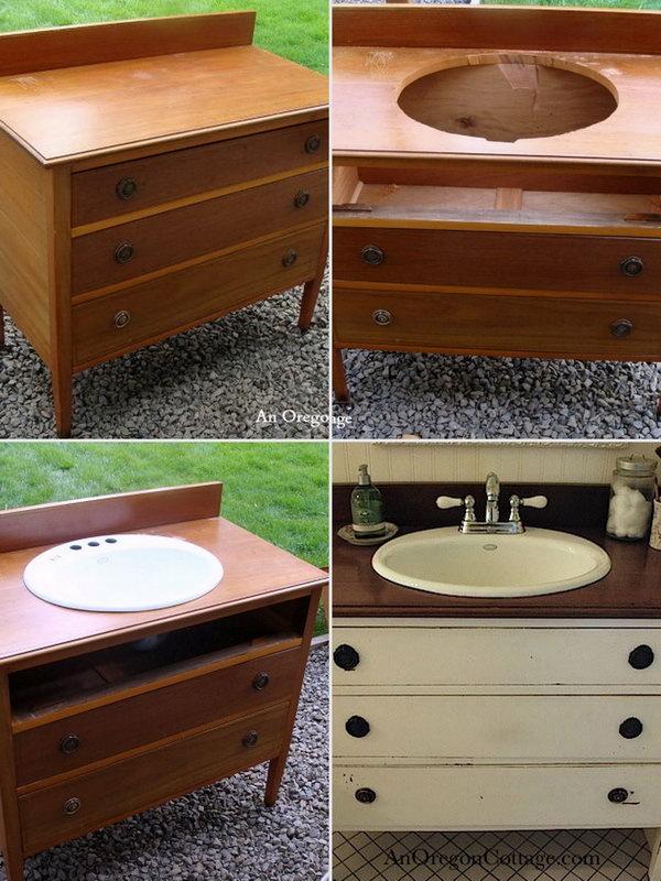 Repurpose an Old Dresser into a Bathroom Vanity .