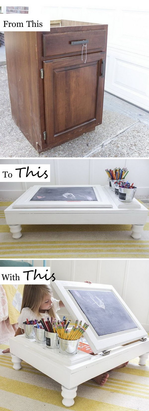 Turn a Kitchen Cabinet Into a Child's Desk.