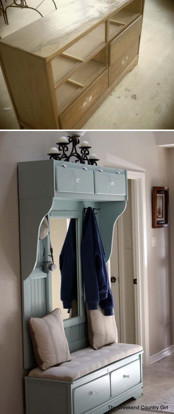Turn an Old Dresser to a Beautiful Mudroom Bench.
