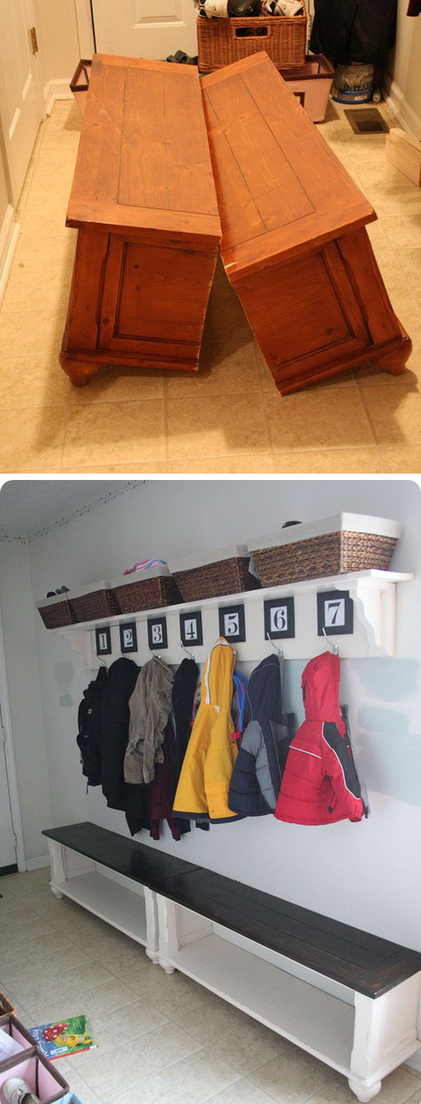 Turn an Old Coffee Table to a Mudroom Bench.