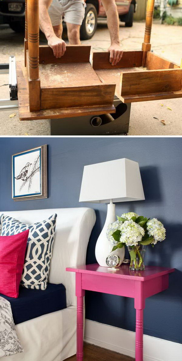 Turn an Unused Table into a Pair of Stylish and Useful Nightstands. Find an old table at a flea market, cut in half,  paint it up,and put one half on either side of the bed and screw into the wall.