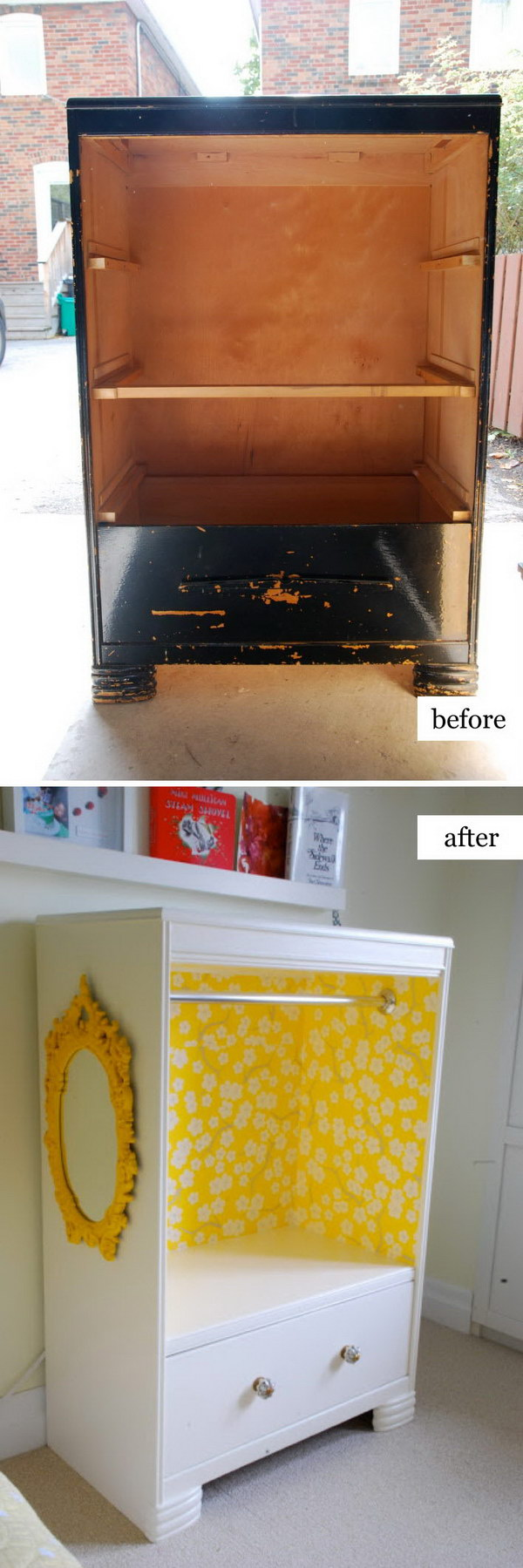 DIY Kid's Dress Up Storage From An Old Tall Boy Dresser.