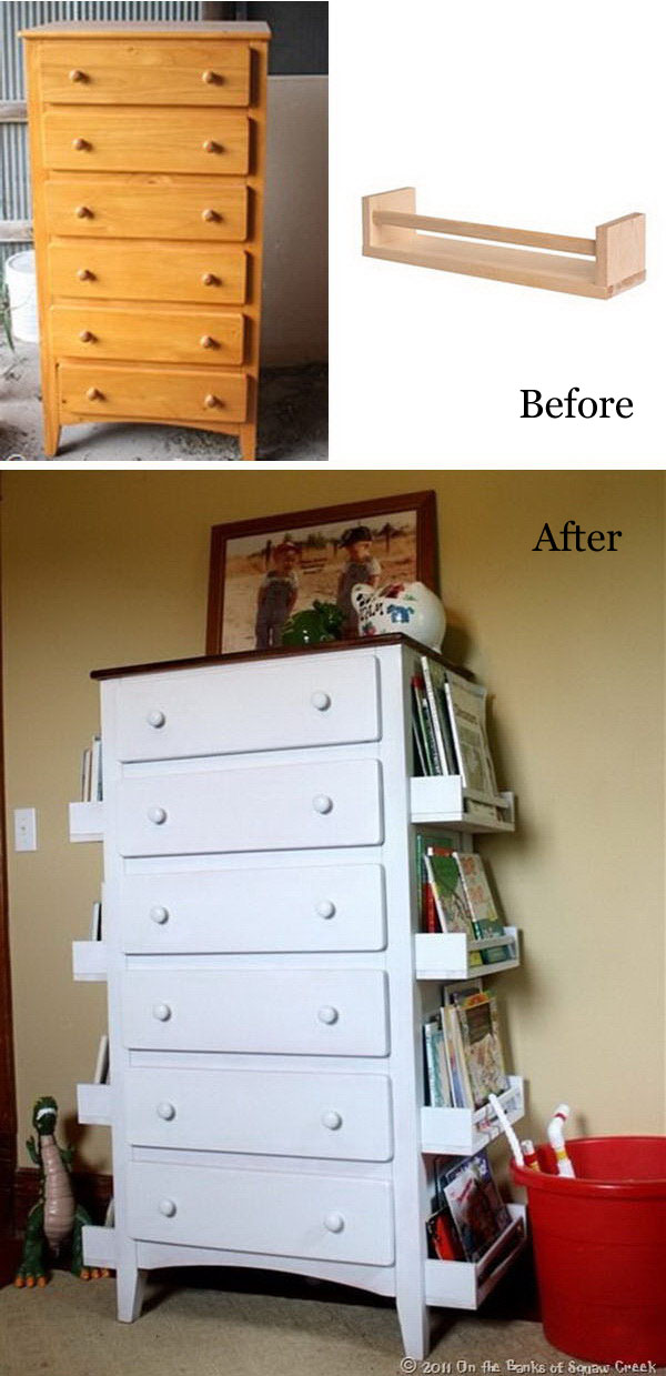 Turn Old Drawers Into Kids Bookshelves