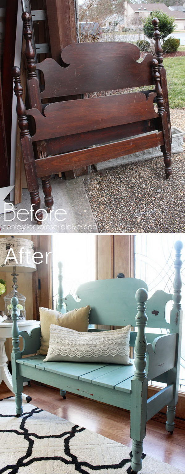 furniture repurpose ideas. Headboard Repurposed Into A Bench Furniture Repurpose Ideas