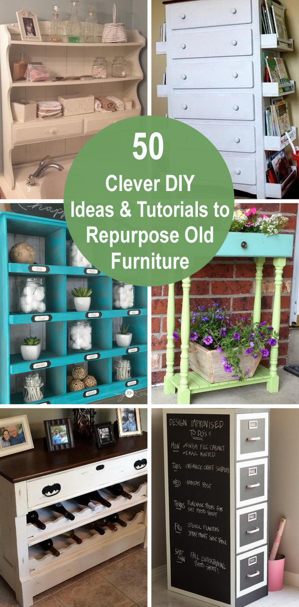 50 Clever DIY Ideas & Tutorials to Repurpose Old Furniture.