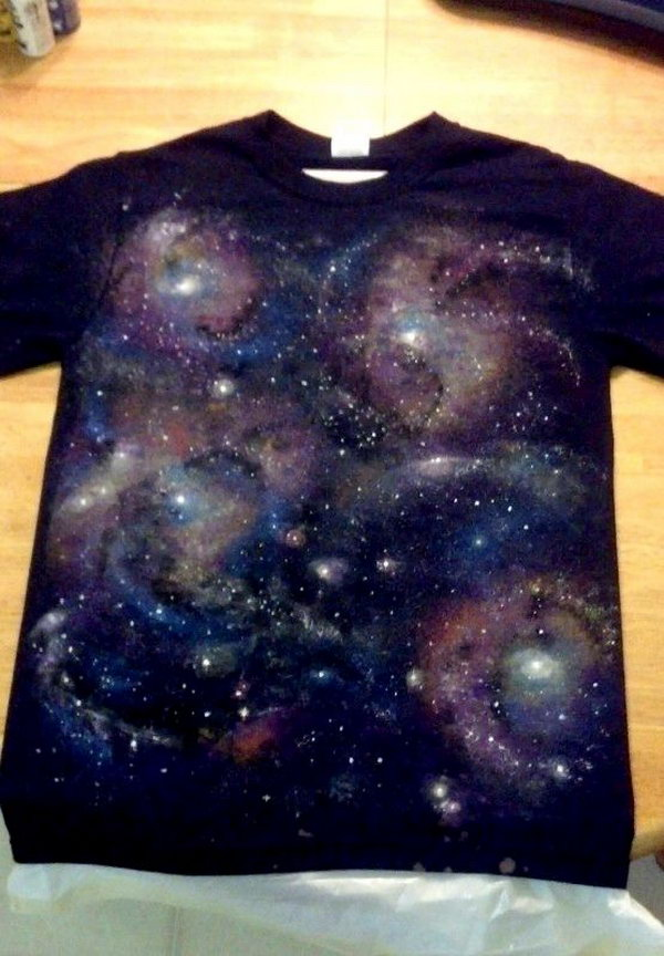 DIY Galaxy T-shirt. Let�痵 bring a little bit of outer space on your clothes. Tutorial