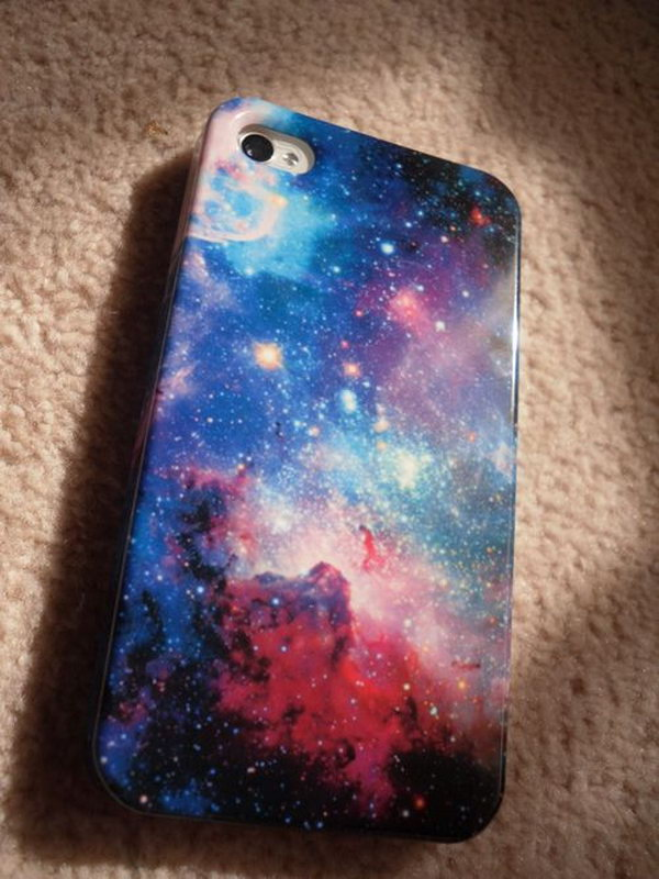 DIY Galaxy Phone Case.  Make this with nail polish, sponge and a white paint pen! See more about this fun project