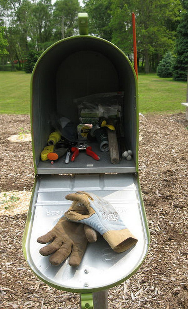 Use Your Garden Mailbox As Your Toolshed.