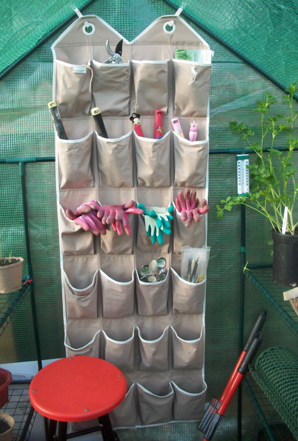 Reuse an Old Shoe Organizer to Store Small Gardening Tools & Accessories.