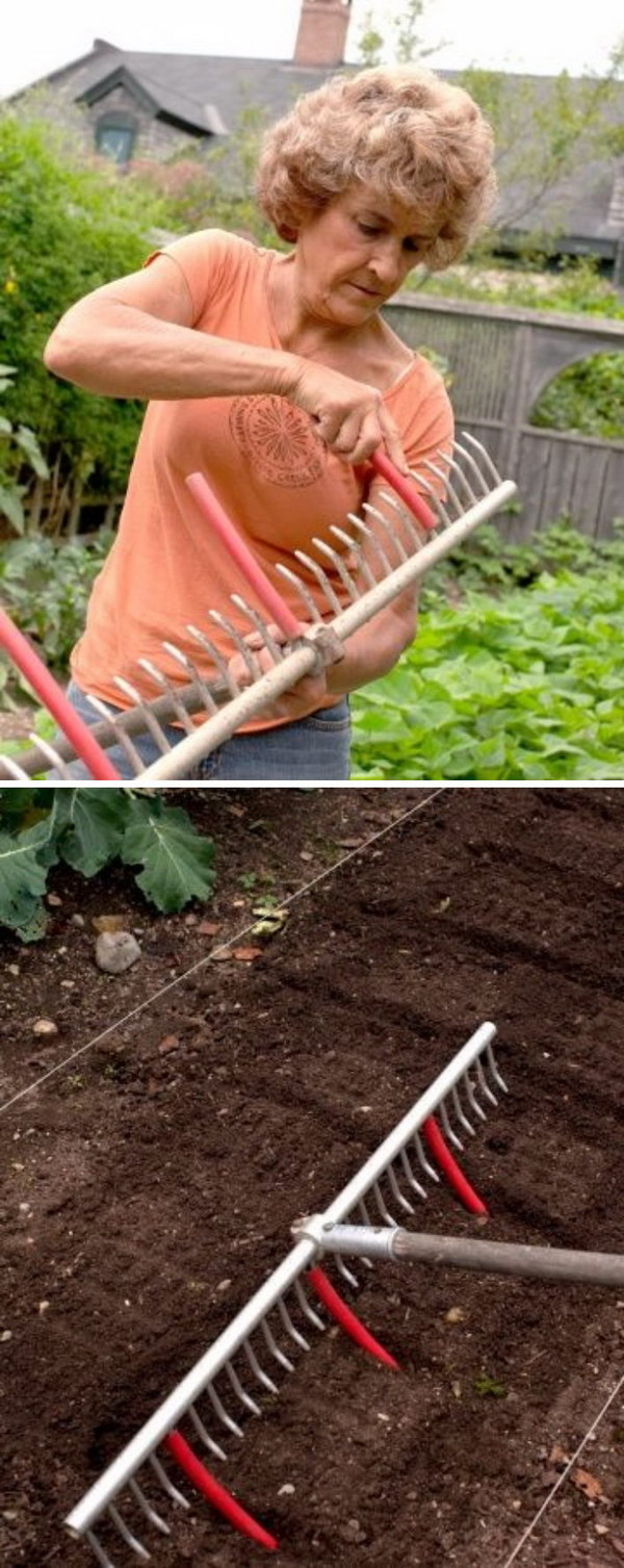 Use A Rake With Tubing Attached To Mark Rows For Planting.