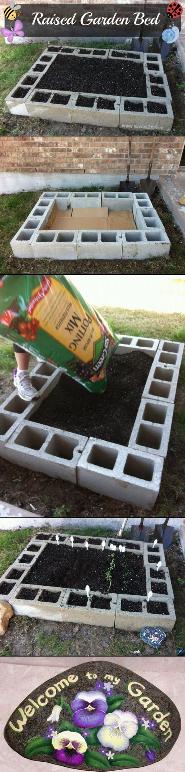 Raised Bed Garden Made Out Of Cinder Blocks.
