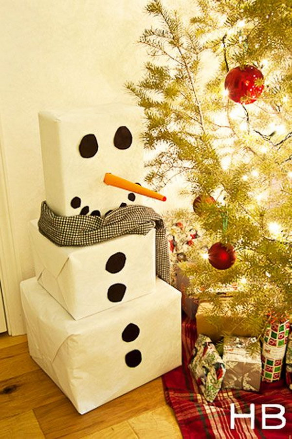 Snowman Gift Wrap Idea.