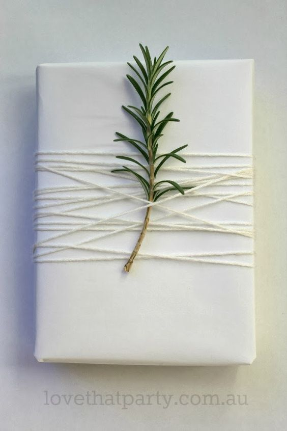 Simple White Christmas Gift Wrap.