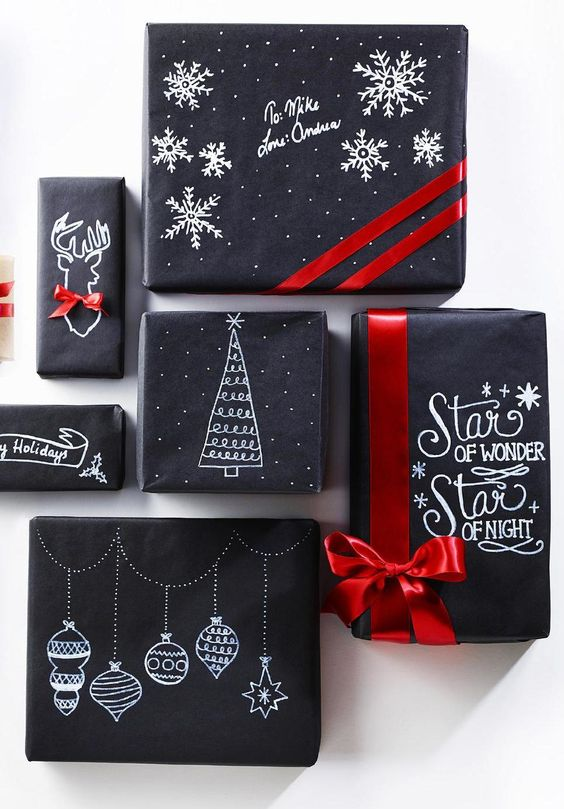 Chalkboard Christmas Gift Wrapping.