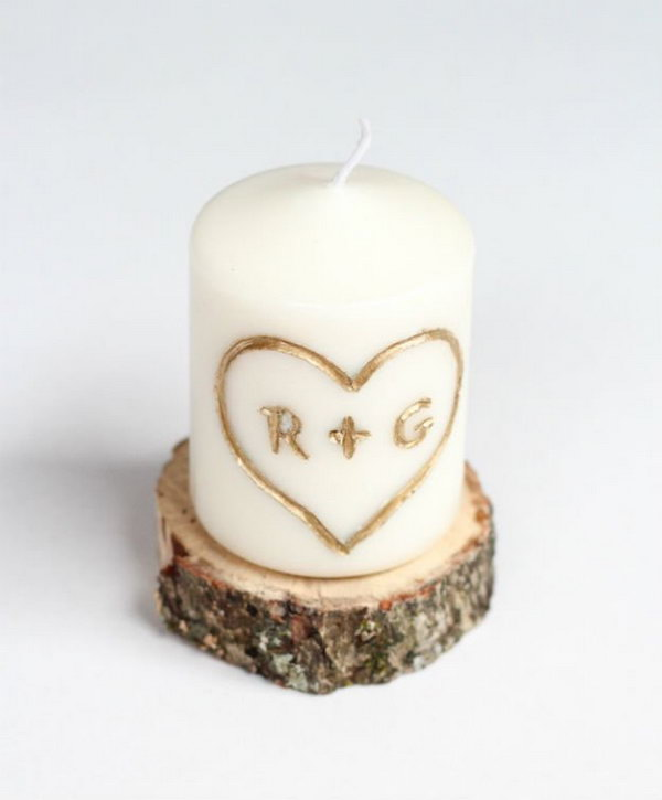 DIY Candle Carved with Initial and Heart