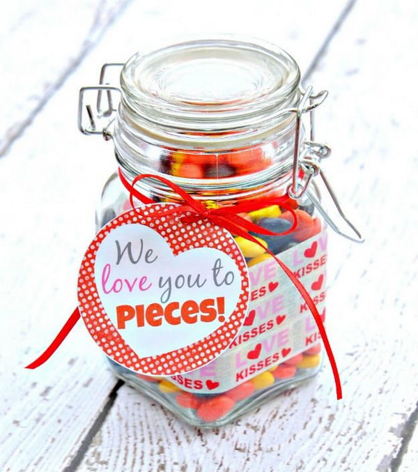 Sweet Jar of Treats Labeled 'We love you to pieces!'