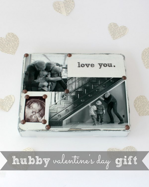 DIY Photo block filled with special messages and significant photos