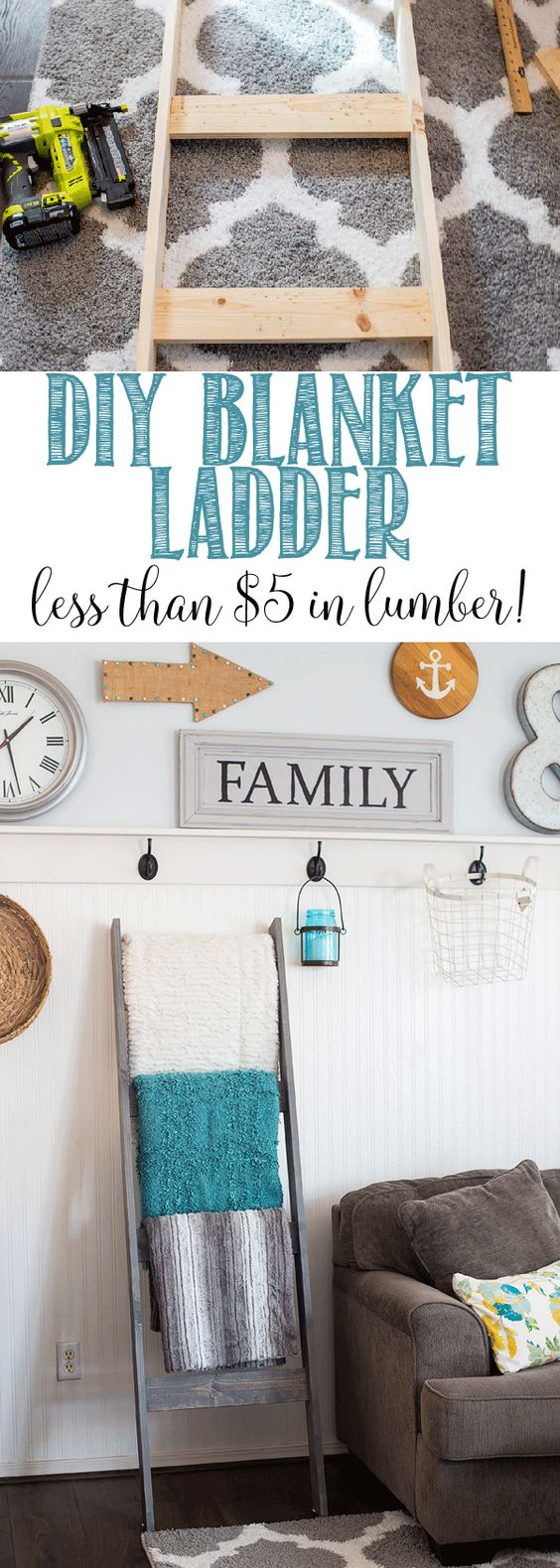DIY Blanket Ladder for Less Than $5 in Lumber.