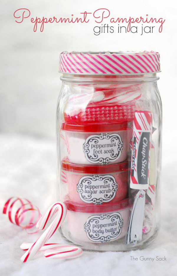 Peppermint Pampering Gifts In Jars.