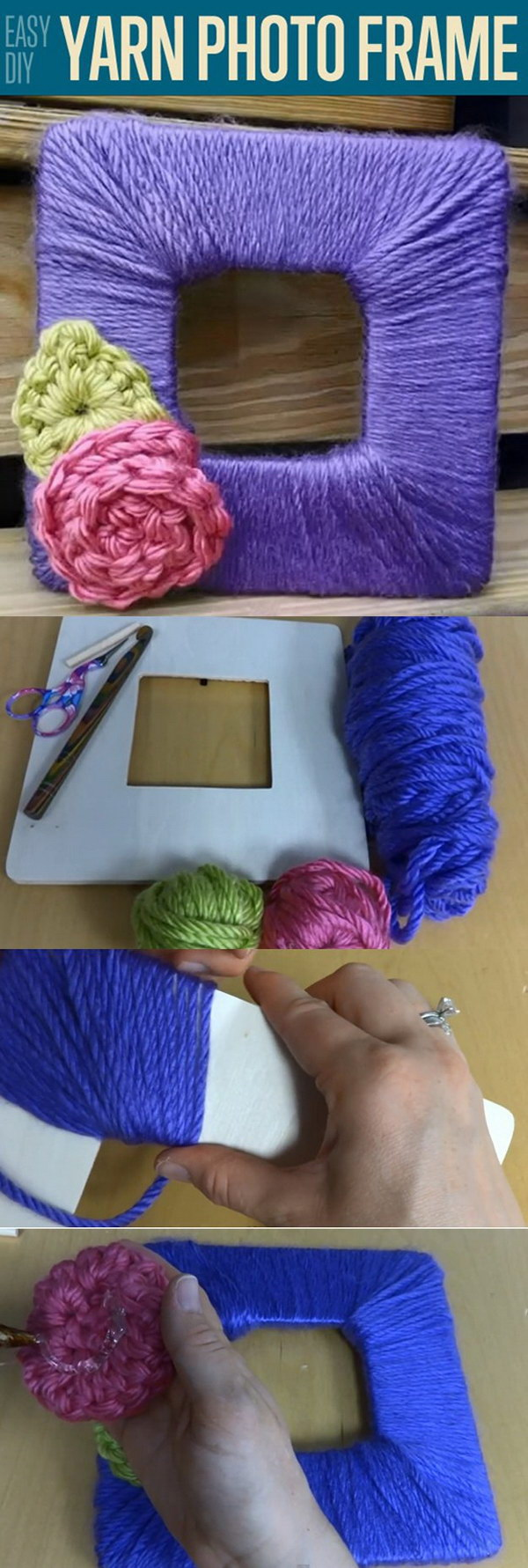 Yarn DIY Photo Frame.