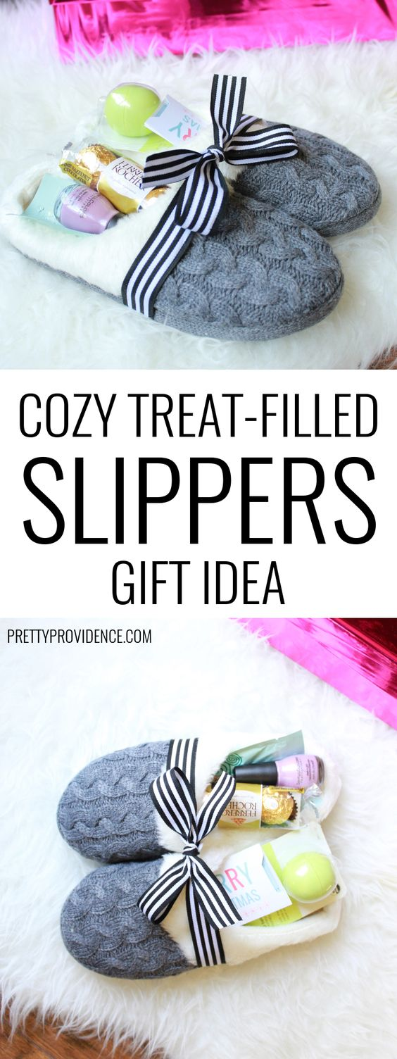 Cozy Slippers Filled With Little Treats And Gifts.