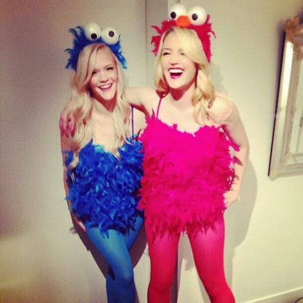 Cookie Monster u0026 Elmo Costumes  sc 1 st  Crafts Booming & 40 Girlfriend Group Halloween Costume Ideas 2017