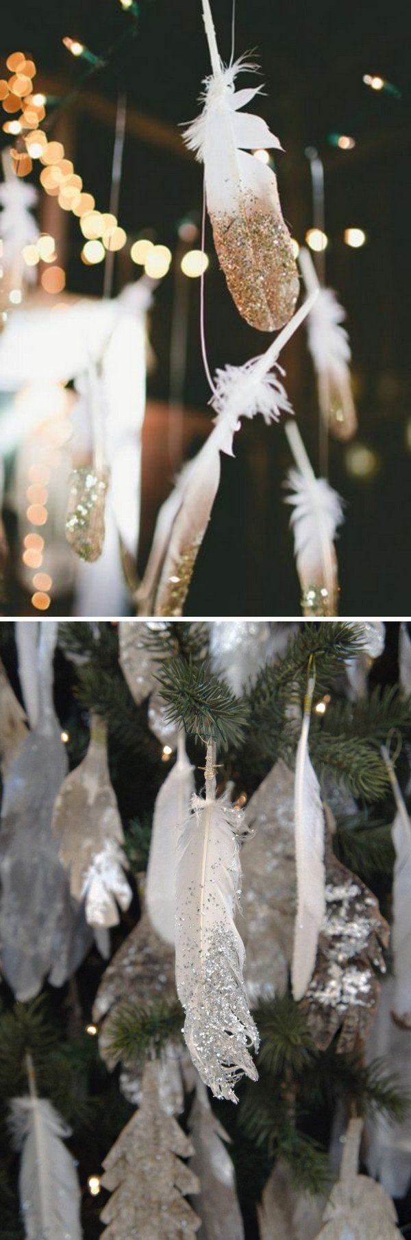 DIY Sparkling Dip-Glitter Silver and Golden Feathers.