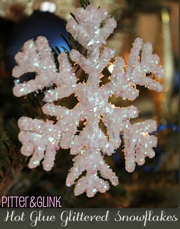 DIY Hot Glue Glitter Snowflakes.