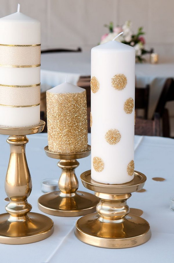 DIY Pink Candles and Glitter Candle Holders.