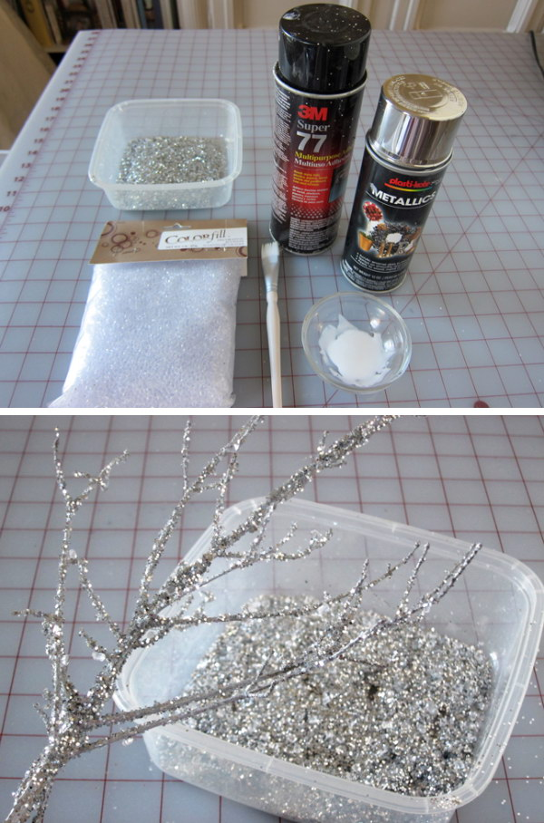 Sparkly Branches for Decoration.