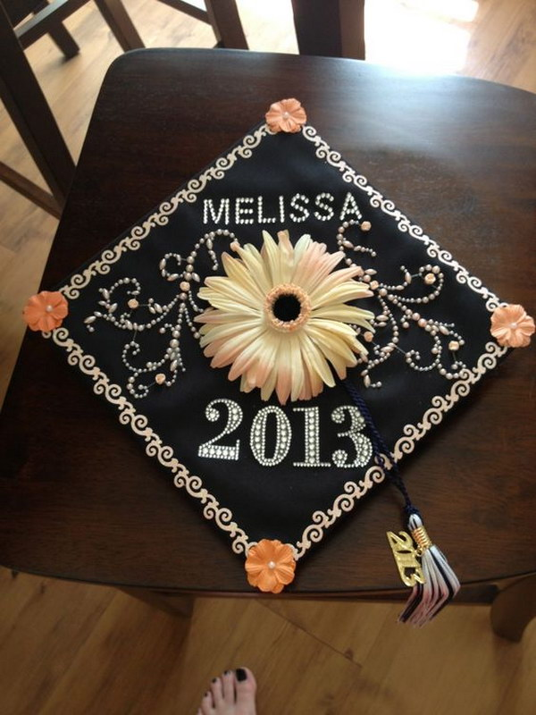 Eye-Catching Flower Decorated Graduation Cap