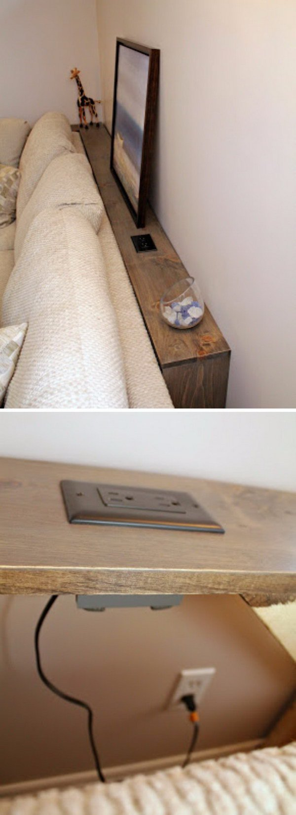 This DIY Table Behind Built-In Outlets Allows You Plug In Your Electronics Easily.
