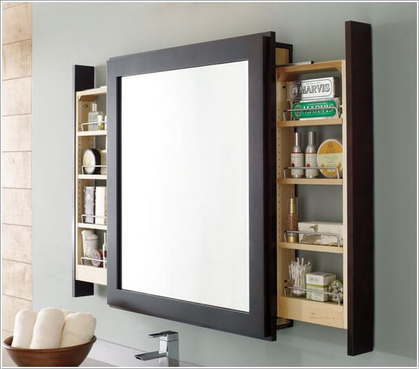 Pull-Out Storage Behind Bathroom Mirror.