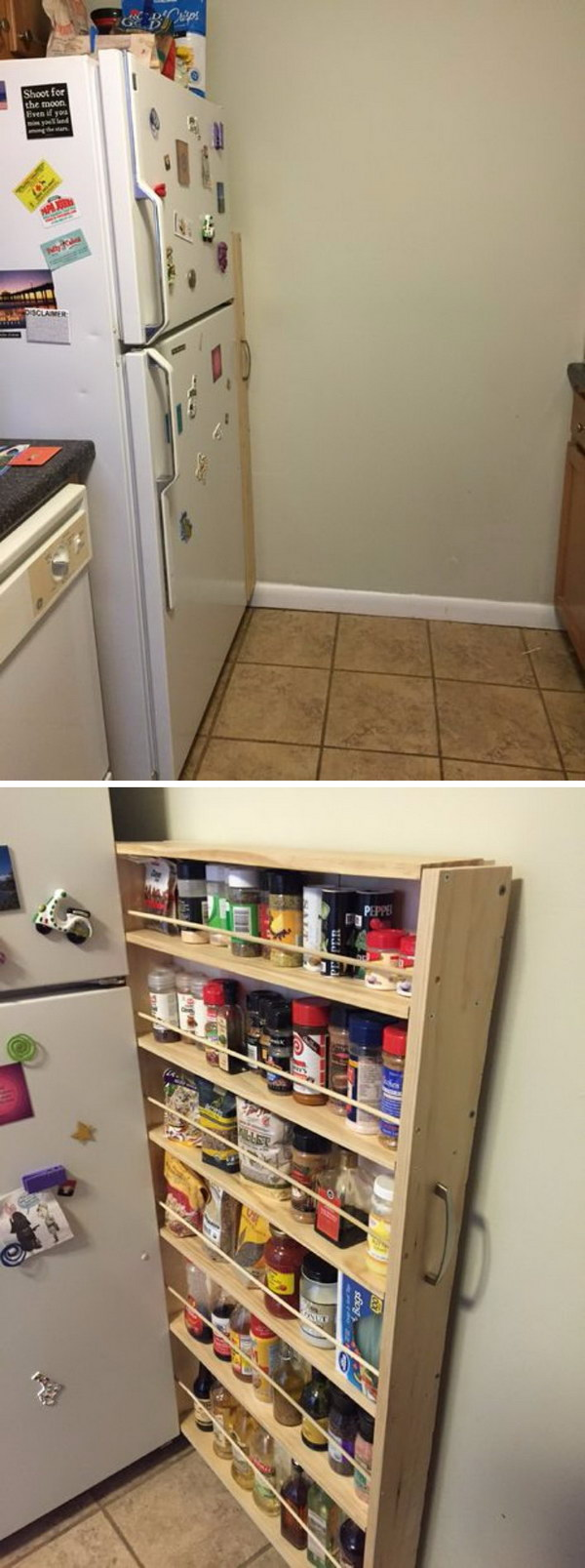 Hidden Fridge Gap Slide-Out Pantry.