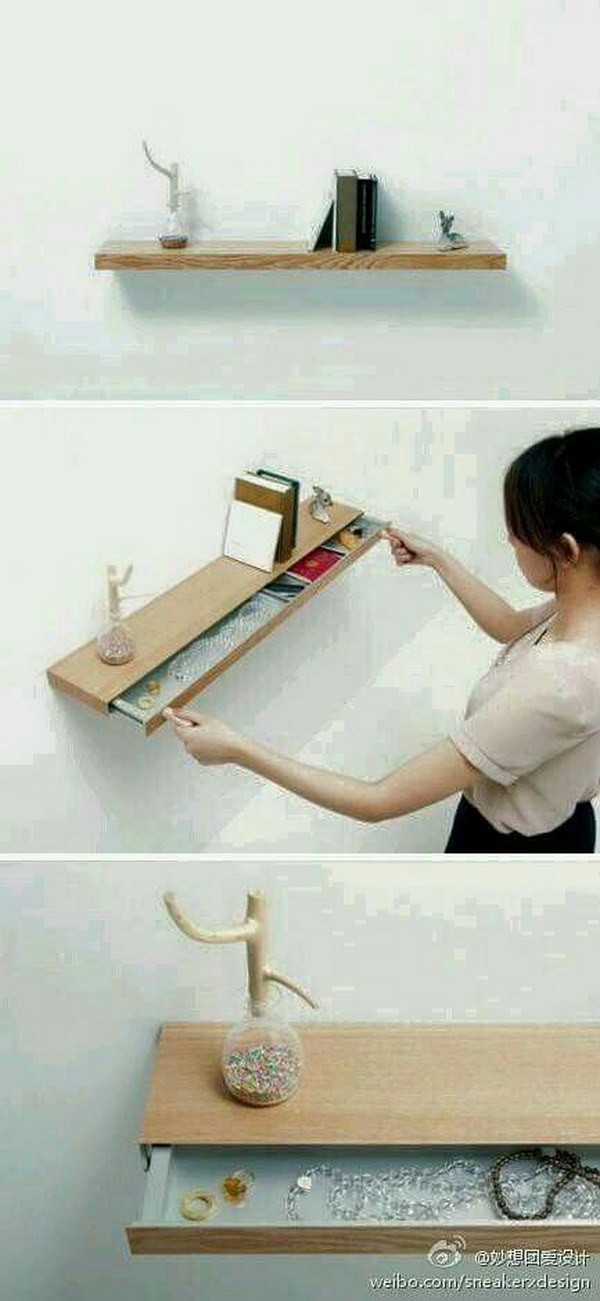 Cute Floating Shelf with Drawer.