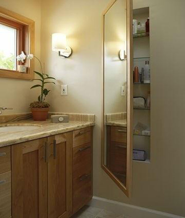 Bathroom Hidden Storage Behind The Mirror