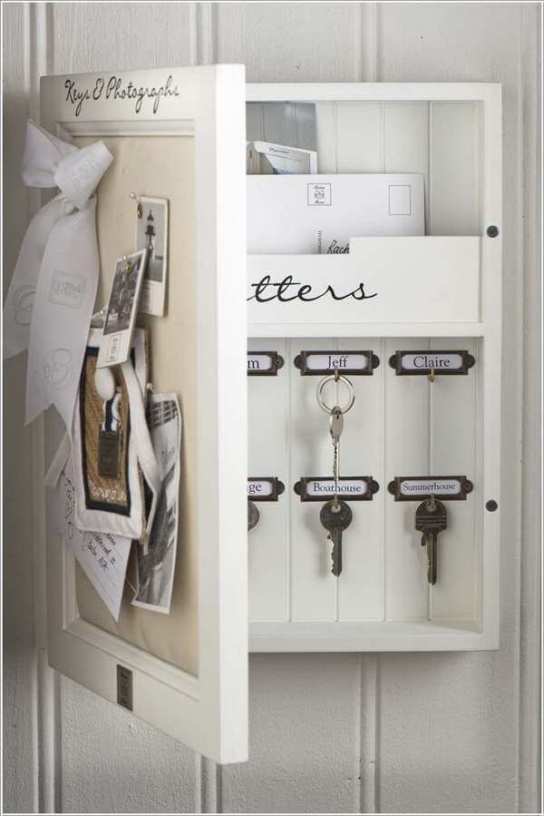 Memo Board Key and Mail Storage Cabinet .