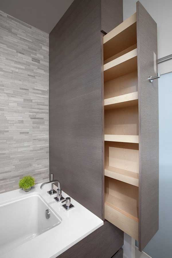 Hidden Slide-out Pantry In the Bathroom.