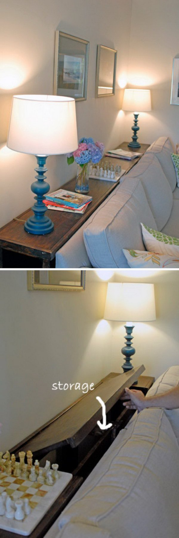 DIY Console Table with Storage Behind Your Couch.