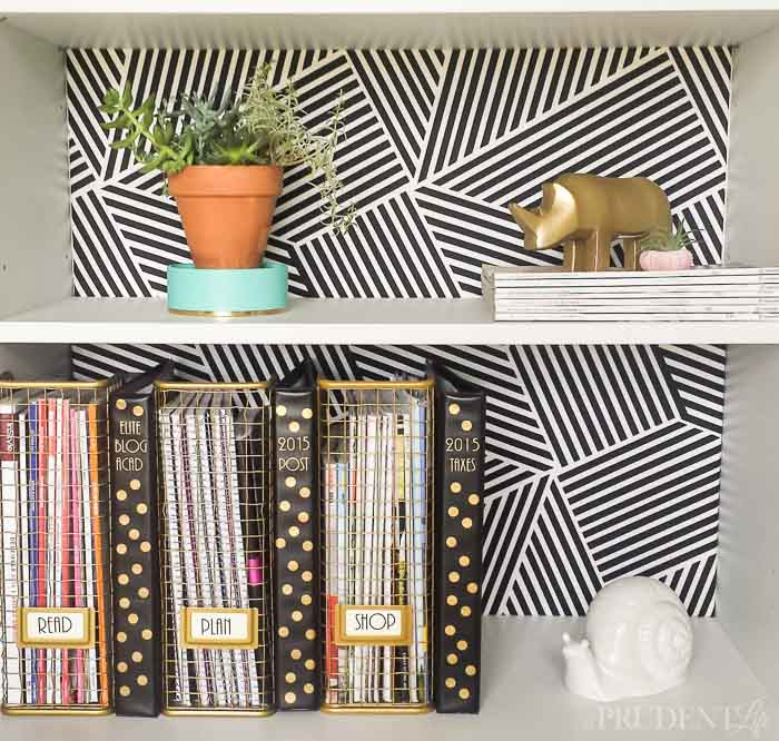 DIY IKEA Bookcase Back. Transform your boring IKEA bookcases into the centerpiece of our office with this NO sew, NO glue project. Read all about it at this very creative blog. Read all about it at this very creative blog