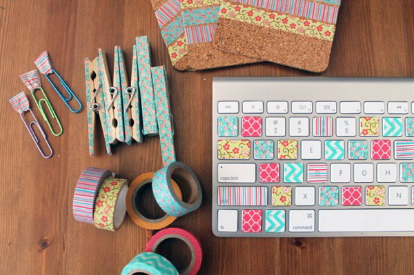 Washi Tape Workspace Makeover. From colorful keys to the cutest clothespins around, washi tape will give you the easiest, cutest office. See the full directions