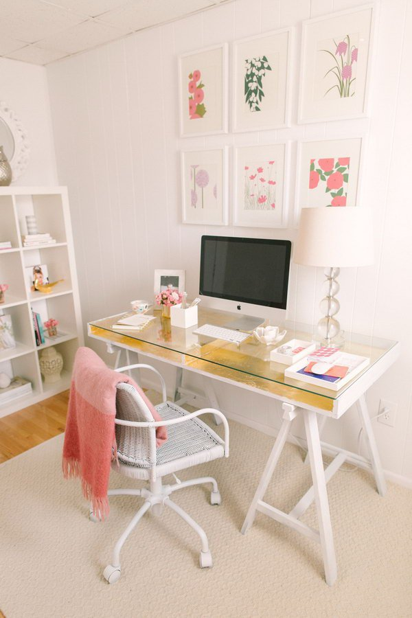 Gold-Leafed IKEA Desk. A little gold-leafing work gives this desk a touch of modern glamor instead of looking too industrial. You can have this beauty in your personal office. See the instructions