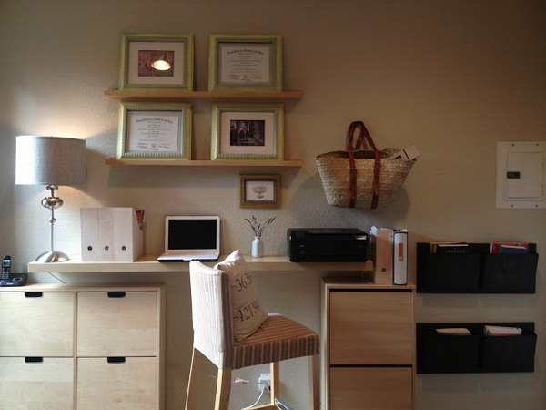 Minimalist Floating Home Office Desk. See more directions