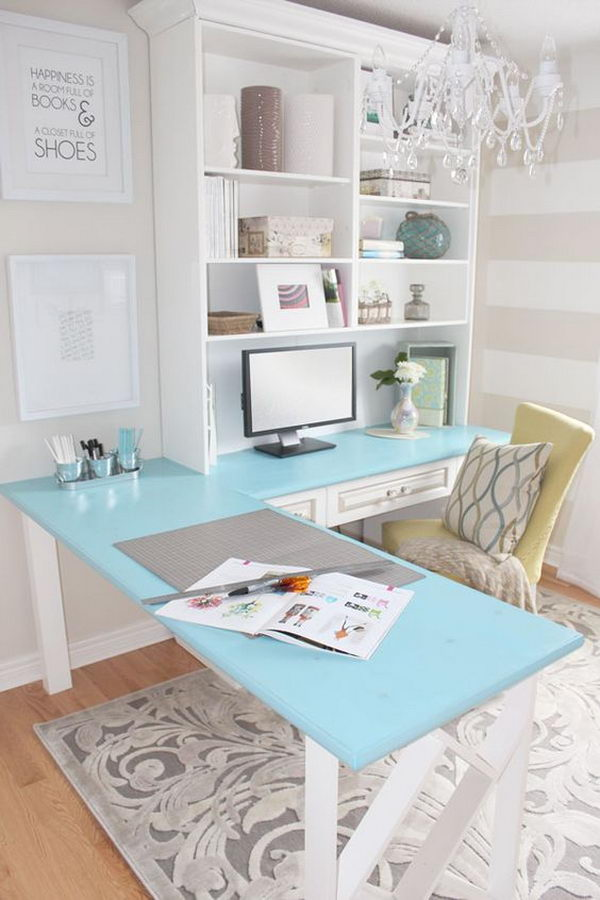 Pretty Home Office With L Shape Desk.