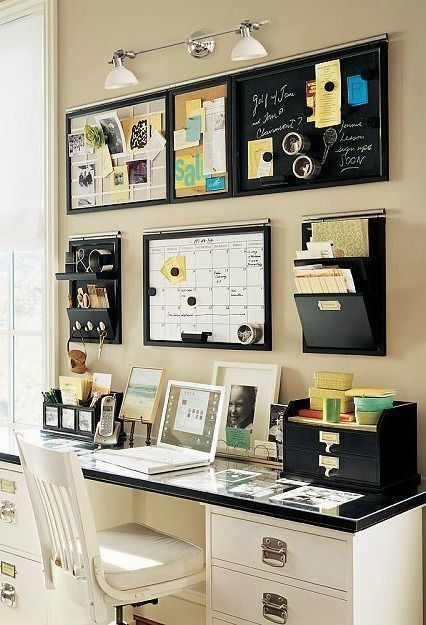 Use Wall Mounted Calendar, Board And Mail Organizer For The Wall Area.