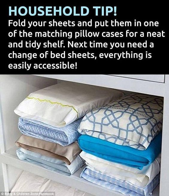 Fold All Of Your Sheets Up And Place Them Inside A Pillowcase.