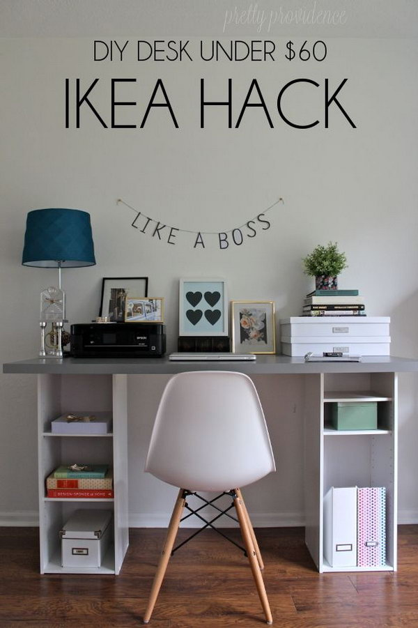 DIY IKEA Hack Desk Under $60.