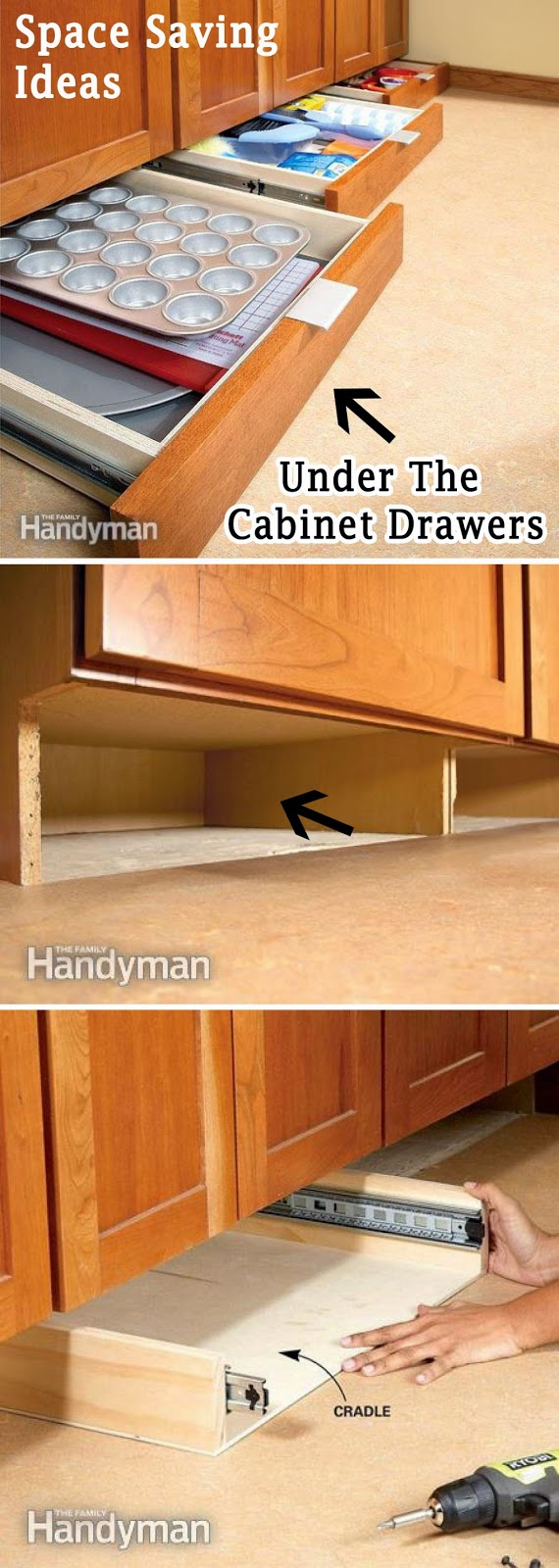 Add More Storage Space in the Kitchen with Under-Cabinet Drawers.