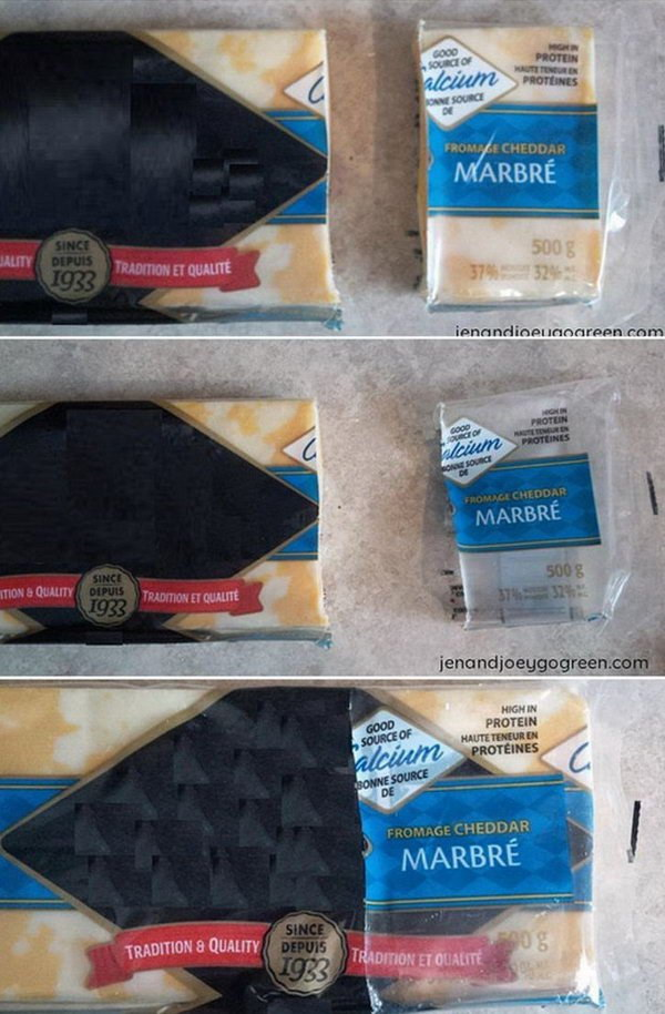 Reuse Cheese Wrappers for Storage.